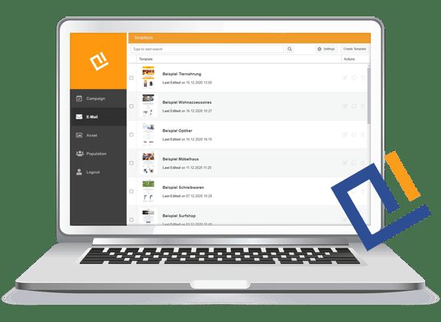 Laptop-Grafik der AIC Group - Arbeitsoberfläche der Content Creation Suite - orange/schwarz/grau/weiß