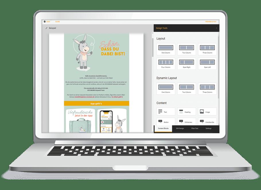 Laptop-Grafik der AIC Group - Content Editor - Content Creation - Gestaltungs-Beispiel eines E-Mail-Templates - orange/grün/grau/weiß