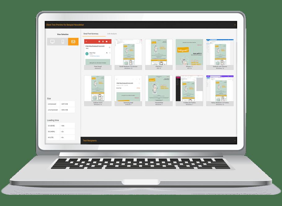 Laptop-Grafik der AIC Group - Health-Check - Content Creation - Gestaltungs-Beispiel eines E-Mail-Templates- orange/grün/grau/weiß