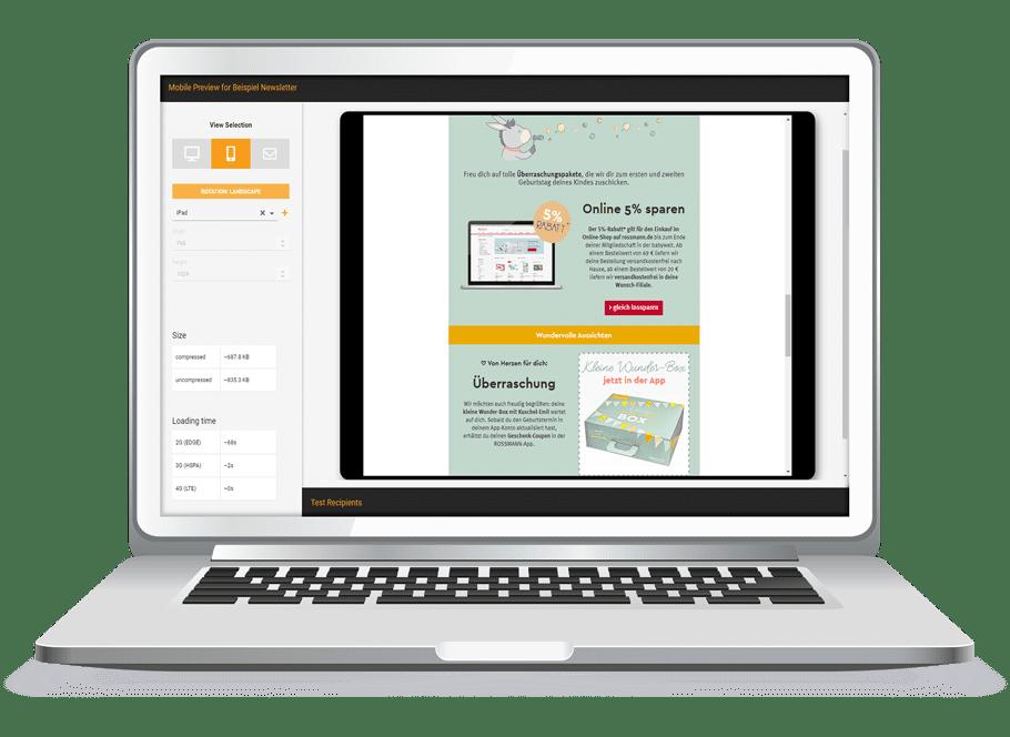 Laptop-Grafik der AIC Group - Preview - Content Creation - Gestaltungs-Beispiel eines E-Mail-Templates- orange/grün/grau/weiß